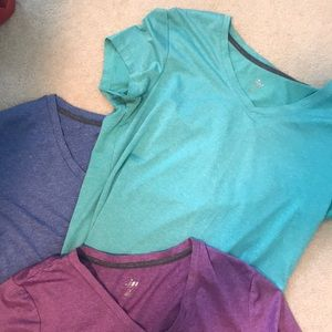 Group of 3 Moret Ultra v-neck athletic t-shirts